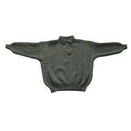 Autre Marque-Pull Chasseur 100% laine et empiecement daim-Kaki