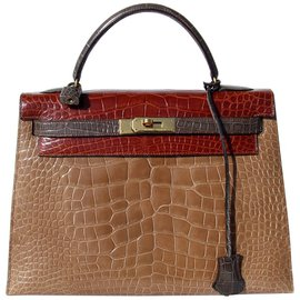 Hermès-Sac à main Hermès Vintage Kelly Sellier Tricolor Alligator Ghw 32 cm-Multicolore