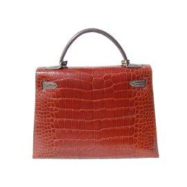 Hermès-Sac à main Hermès Vintage Kelly Sellier Tricolor Alligator Ghw 32 cm-Multicolore