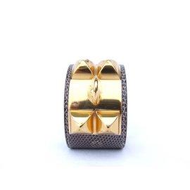 Hermès-Bracelet Hermès Collier de chien CDC Lezard Ombre Natura Taille S GHW-Gris