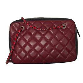 Chanel-Handbags-Black,Dark red