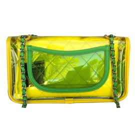Chanel-Runway Quilted Single Flap Shiny Silver Chain Green/Yellow/Pink Pvc/Lambskin Bag-Multiple colors