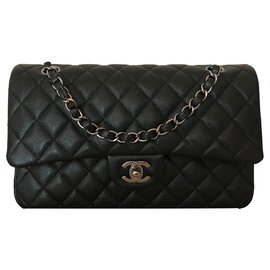 Chanel-Classic Medium Flap Black Iridescent Caviar Leather with Shiny Grey Chain-Black