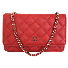 Chanel-Wallet on Chain Red Caviar Leather with Shiny Silver Chain-Red