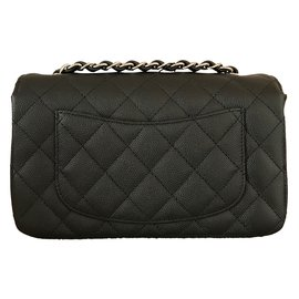 Chanel-mini Single flap with Shiny Silver chain-Black