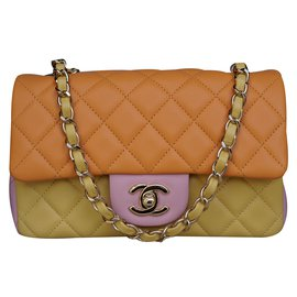 Chanel-Tri-Colors Lambskin Mini Flap Bag with Shiny Gold chain-Multiple colors