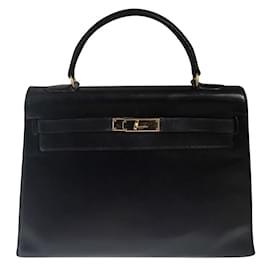 Hermès-Superbe Kelly 32 sellier en cuir box noir !-Noir
