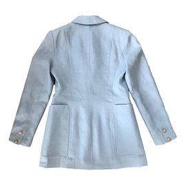 Hermès-Veste en lin-Bleu