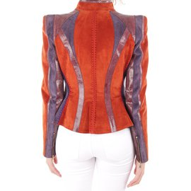 Louis Vuitton-VESTE EN PYTHON ET VEAU VELOURS-Orange,Violet