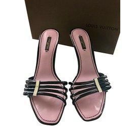 Louis Vuitton-MULES CUIR VERNI NOIR-Noir