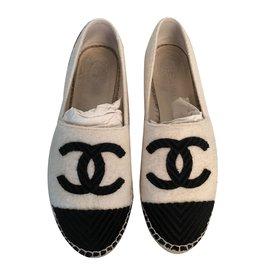 Chanel-Espadrilles-Noir,Blanc