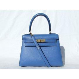 Hermès-Mini Kelly 20 cm Cuir courchevel Bleu Bijouterie dorée-Bleu