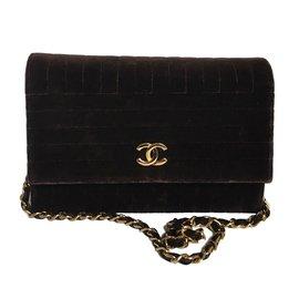 Chanel-vintage en velours marron-Marron