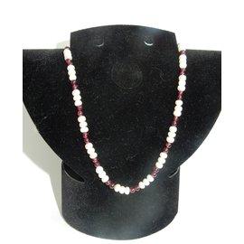 Autre Marque-Collier vintage perles naturelles et grenats-Blanc,Rouge