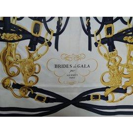 Hermès-Carré Brides de Gala-Bleu Marine