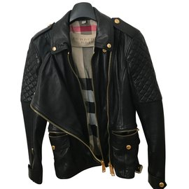 Burberry-Diamond Quilt Detail Leather Biker Jacket-Black