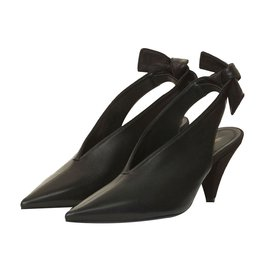 Céline-SOFT V NECK SLINGBACK PUMP-Black