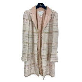 Chanel-Manteau en Tweed Chanel-Rose,Beige