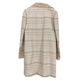 Chanel-Manteau en Tweed Chanel-Rose,Beige