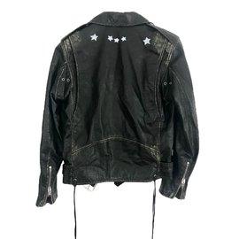Saint Laurent-Blouson saint laurent motorcycle étoiles en cuir-Noir