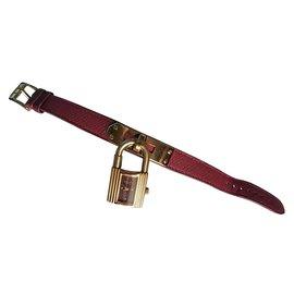 Hermès-Kelly watch-Dark red