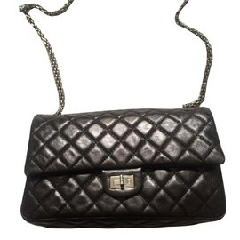Chanel-2.55 en cuir noir-Noir