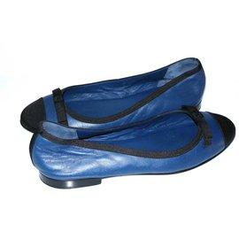 Chanel-Ballerines-Noir,Bleu Marine