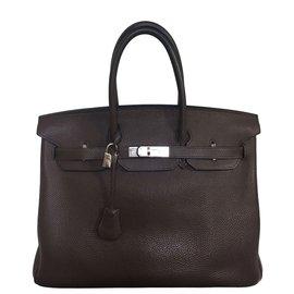 Hermès-Birkin 35 en cuir Togo marron PHW-Marron foncé