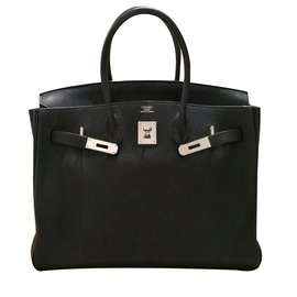 Hermès-Birkin 35 Black Togo Leather PHW-Black