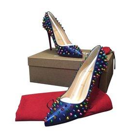 Christian Louboutin-spike shoes heels blue patent 37.5-Bleu