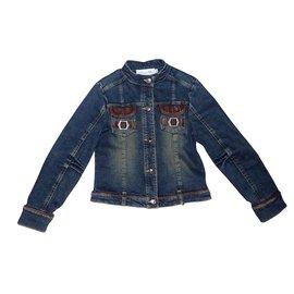 Dior-Blousons, manteaux filles-Bleu