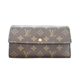 Louis Vuitton-Portefeuille en toile-Marron