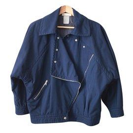 Courreges-Blouson Perfecto Coton-Bleu Marine