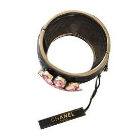 Chanel-Manchette fleur-Noir,Rose