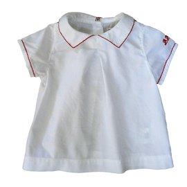 Autre Marque-Blouse DPAM bébé- 6 mois - 100% coton-Blanc,Rouge