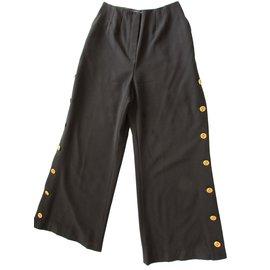 Chanel-Pants, leggings-Black,Golden