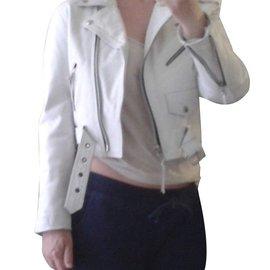 Autre Marque-Blouson Perfecto cuir blanc-Blanc