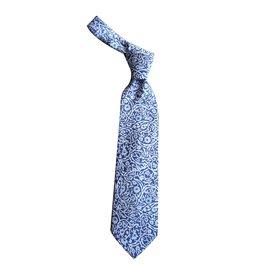 Autre Marque-Cravate soie imprimée arabesques bleues NEUVE-Bleu,Bleu Marine
