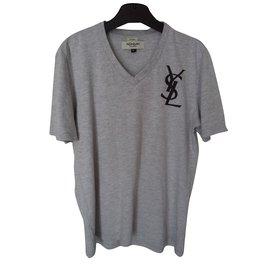 Yves Saint Laurent-Tee shirt manches courtes-Gris