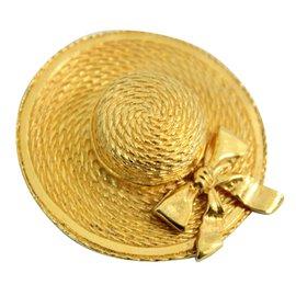 Chanel-Broche Chapeau-Doré