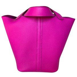 Hermès-Magnolia Clemence Leather Picotin Lock 18cm Tpm-Pink