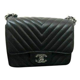 Chanel-Mini square caviar bag-Black