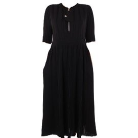 Céline-mid-length black dress-Black