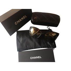 Chanel-Lunettes de soleil-Marron foncé