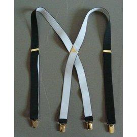 Autre Marque-Bretelles noires intérieur blanc 110 cm 4 pinces-Noir,Blanc