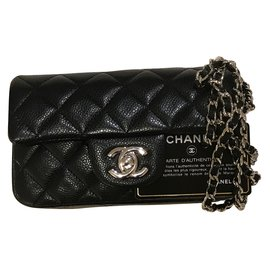 Chanel-extra mini classic flap bag in black caviar leather with silver hw-Black