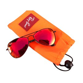 Ray-Ban-Aviator-Noir,Rouge,Orange