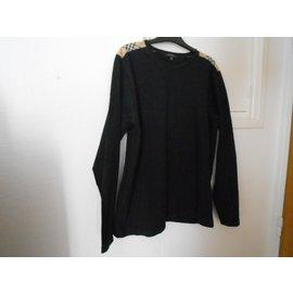 Burberry-tshirt noir épaules à carreaux beige-Noir