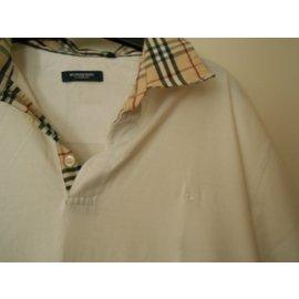 Burberry-Polo blanc col écossais beige et noir-blanc cassé