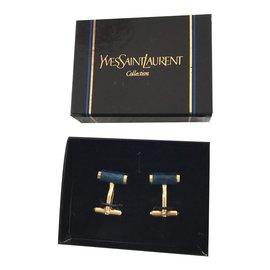 Yves Saint Laurent-Cufflinks-Blue,Golden